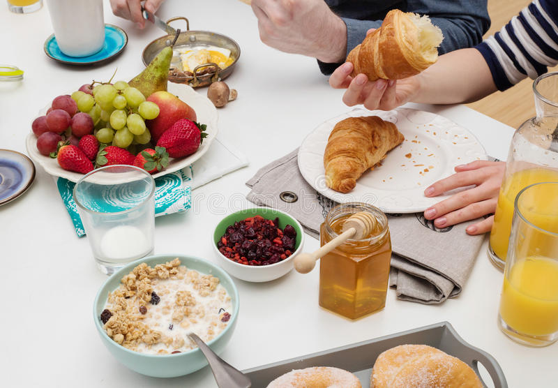 People eating breakfast royalty free stock photo