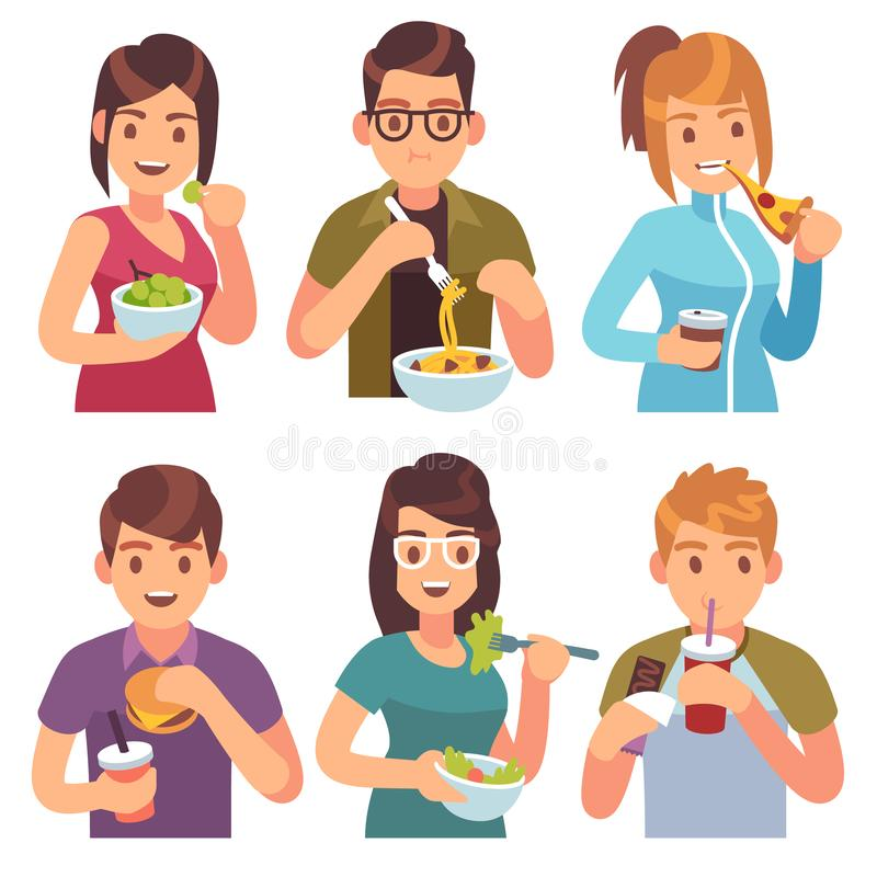 People eating. Eat drinking food men women healthy tasty dishes meals cafe casual lunch hungry friends vector illustration