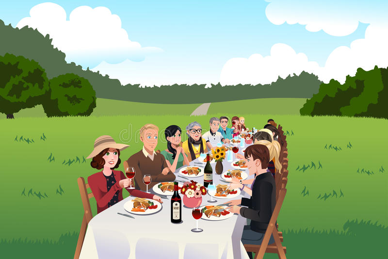 People eating in a farm table. A vector illustration of group of people eating in a farm table stock illustration