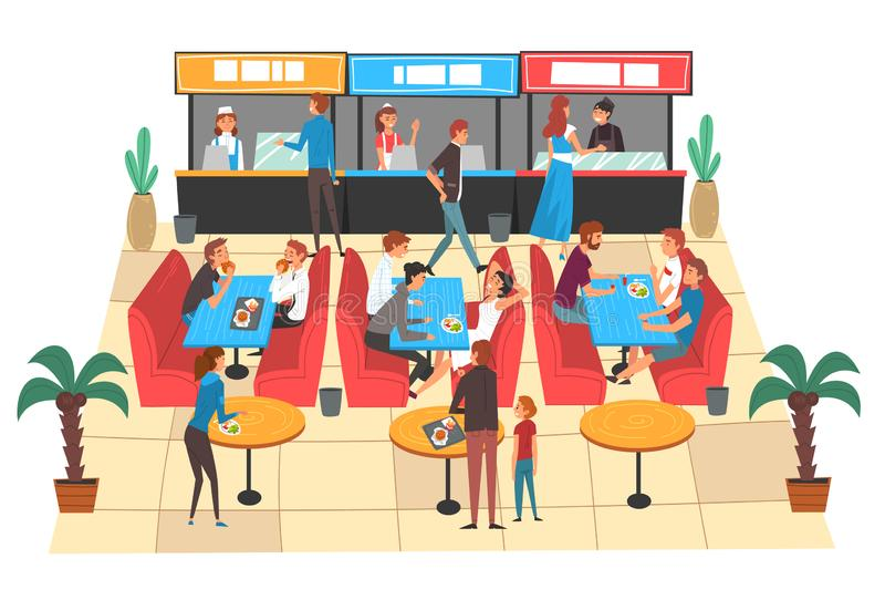 People Eating in Food Court in Shopping Mall, People Buying Fast Food and Drinks Vector Illustration. On White Background stock illustration