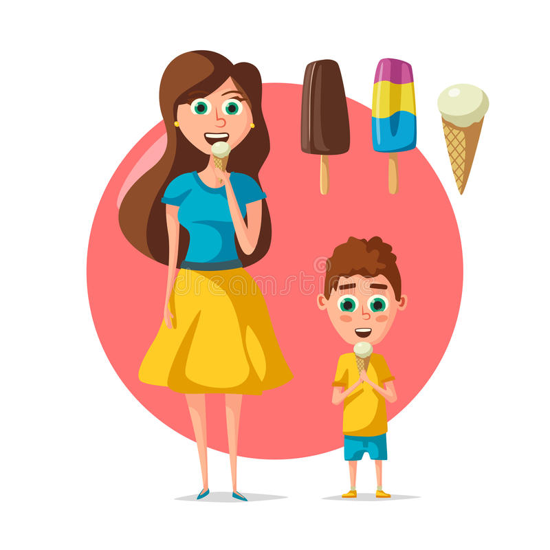 People eating ice cream vector flat woman or child vector illustration
