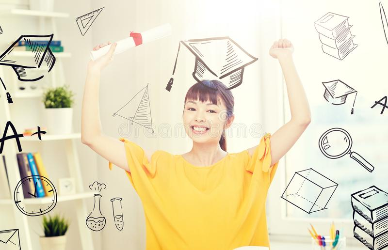 Happy asian woman student with diploma at home stock photos