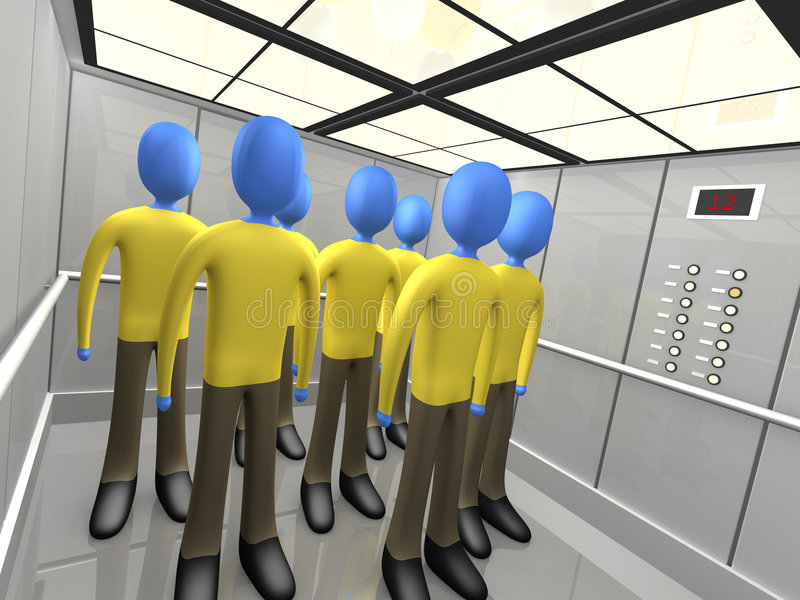 People In Elevator vector illustration