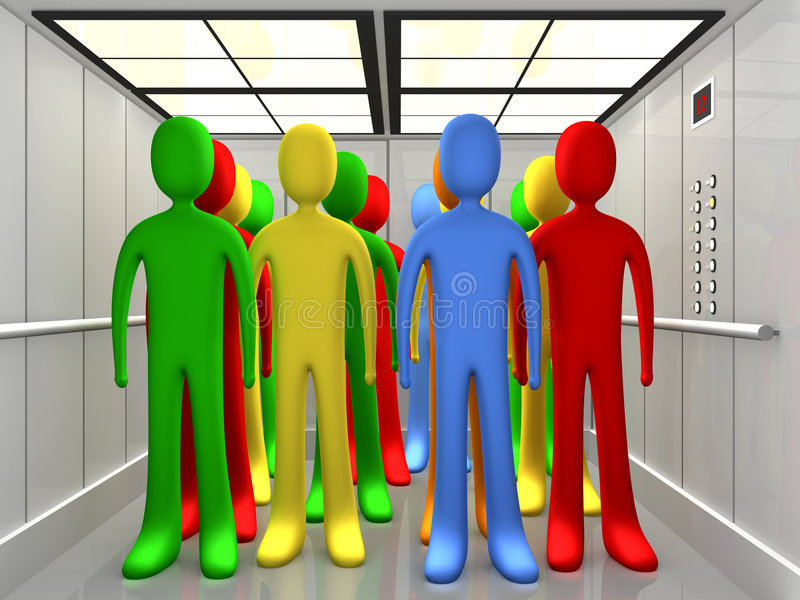 People In Elevator stock illustration