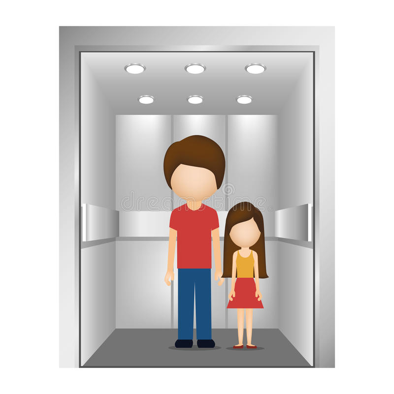People in elevator design stock vector illustration of