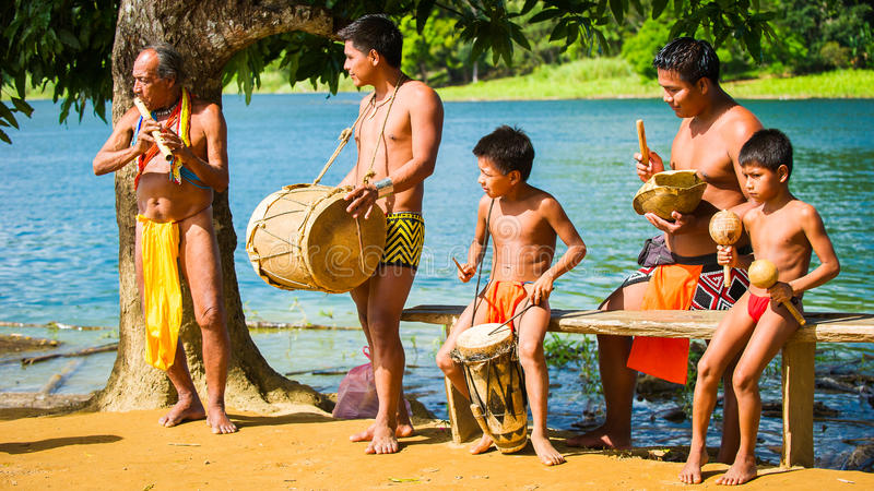 People in EMBERA VILLAGE, PANAMA stock photography