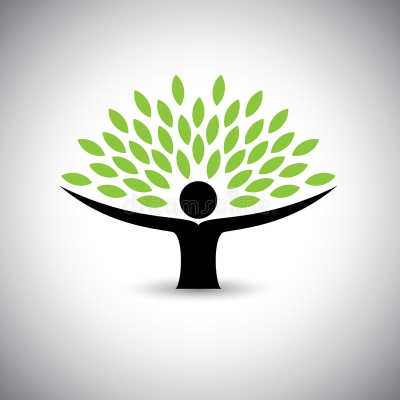 People embracing tree or nature - eco lifestyle concept vector. This graphic also represents harmony, nature conservation, sustainable development, natural stock illustration