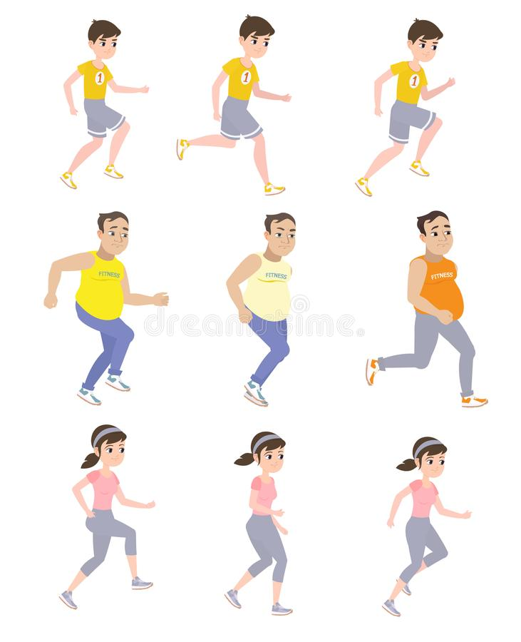 Love of running. People are engaged in running and train to participate in the marathon stock illustration