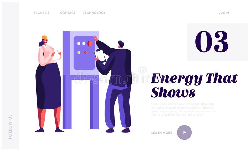 People Engineer Check Energy Equipment at Factory Landing Page. Man and Woman Inspector Engineering. Gas Industry Inspection. Technician Worker Website or Web vector illustration