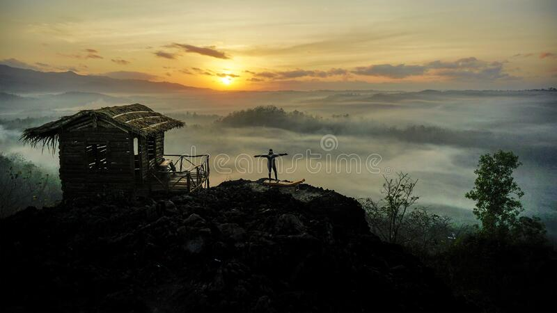 people enjoy sunrise on top view mount royalty free stock images