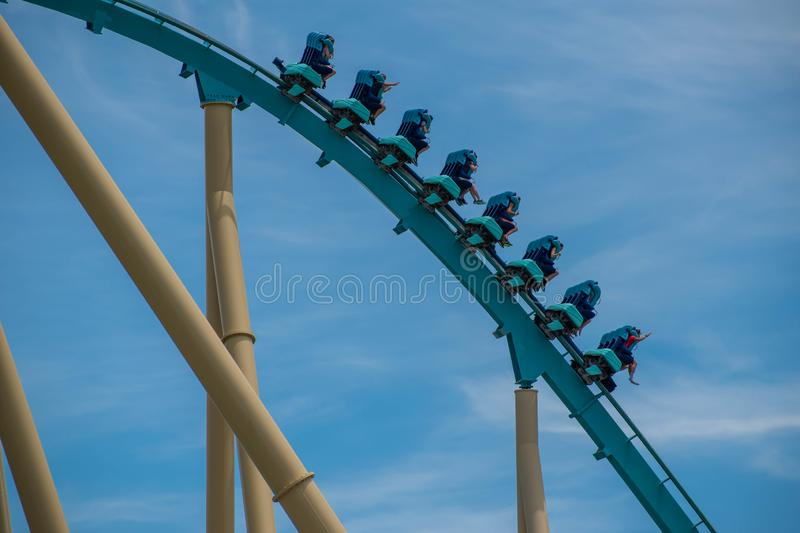 People enjoying amazing Kraken rollercoaster during summer vacation at Seaworld 49. Orlando, Florida . July 31, 2019. People enjoying amazing Kraken stock image