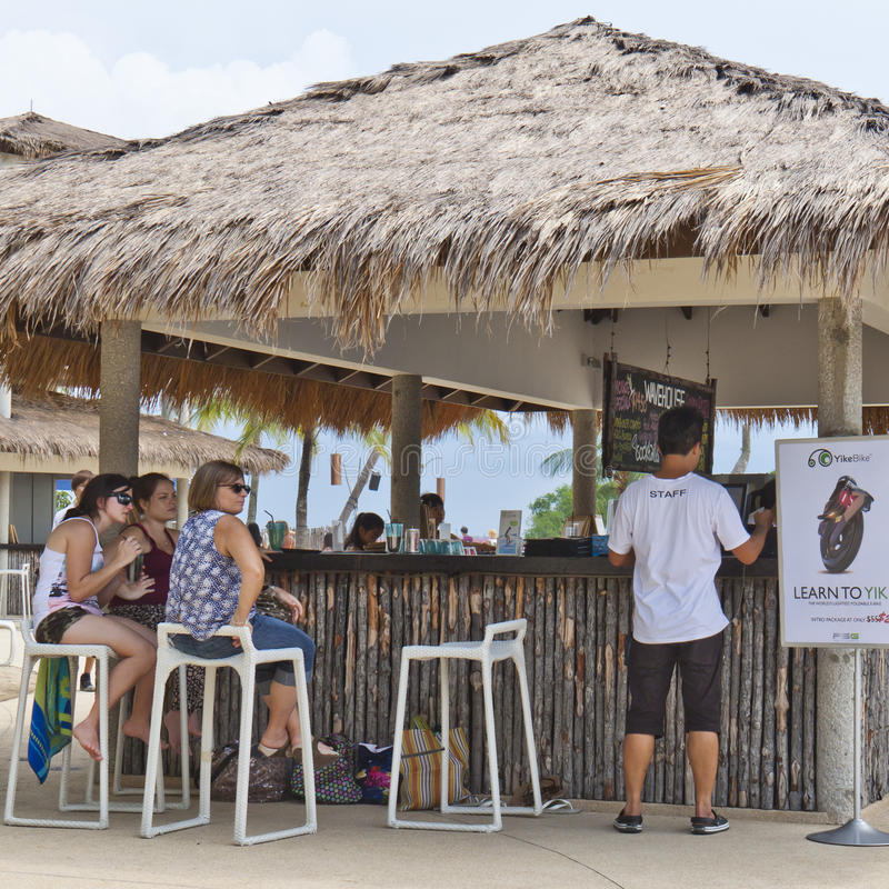 People enjoying a bar at Sentosa Island