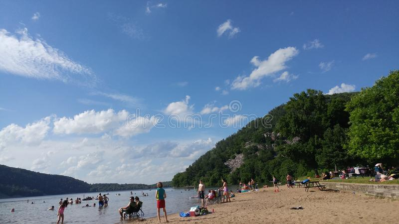 People at Beach - Devil`s Lake State Park - Baraboo, WI royalty free stock images
