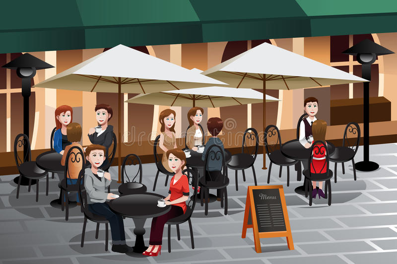 People enjoying coffee outside of a cafe royalty free illustration