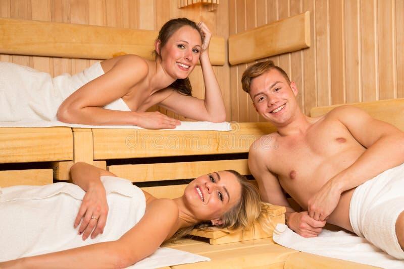 People enjoying a day in wellness sauna stock photos