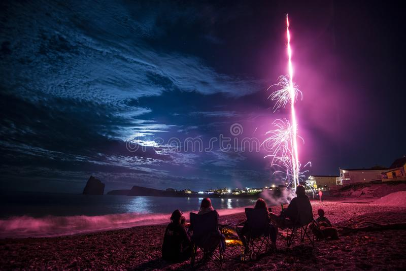 Fireworks on waterfront, Quebec, Canada stock image
