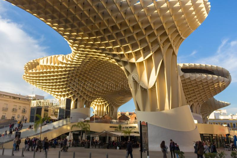 People enjoying the mushrooms in Seville. Sevilla, Andalusia/Spain - 01/02/2019 Las Setas english translation - the Mushrooms The Metropol Parasol, locals and stock photos