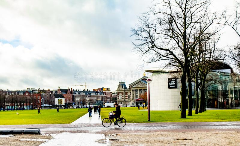 Urban city Landscape of Amsterdam`s park stock image