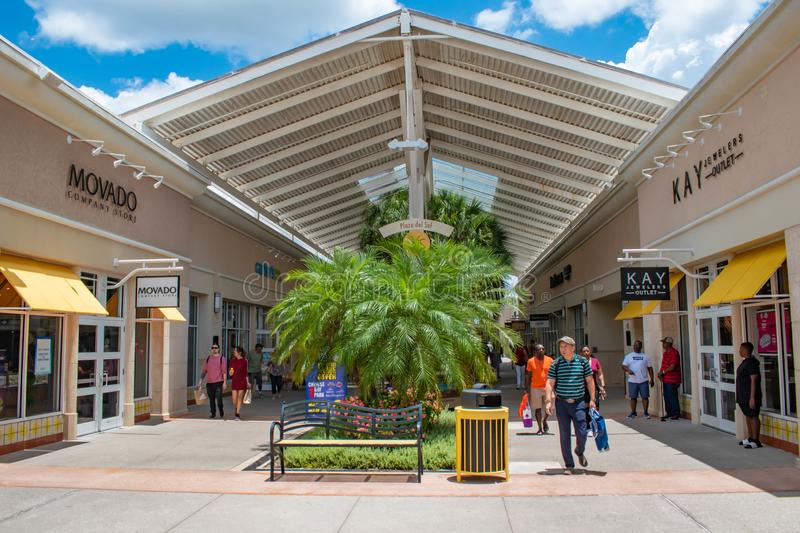 People enjoying a shopping day at Premium Outlet in International Drive area  2 stock images