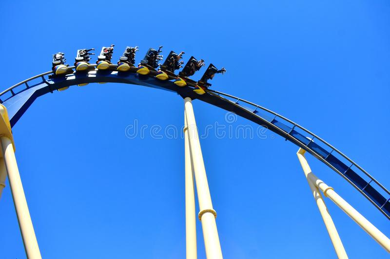 People enjoying speed and adrenaline offered by Montu Roller Coaster at Bush Gardens Tampa Bay. Tampa, Florida. October 25, 2018 People enjoying speed and stock photo