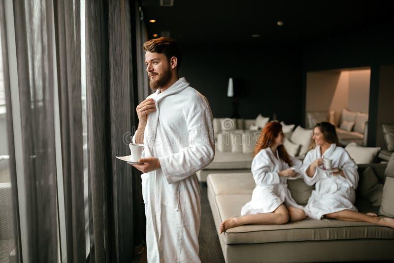 People enjoying their welllness weekend. In luxury room stock images
