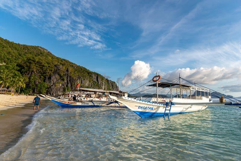 People enjoying a vacation at the 7 commandos island beach in a El nido, Palawan, Philippines, Nov 18,2018. Nov 18,2018 People enjoying a vacation at the 7 stock images