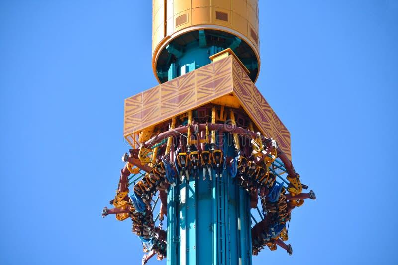 People enjoying vertiginous descent at Falcon`s Fury attraction at Bush Gardens Tampa Bay. stock photography