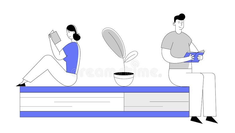 People Enthusiastically Reading Sitting on Huge Book. Young Woman and Man Students Spend Time in Library. Or Prepare for Examination Characters Gaining stock illustration
