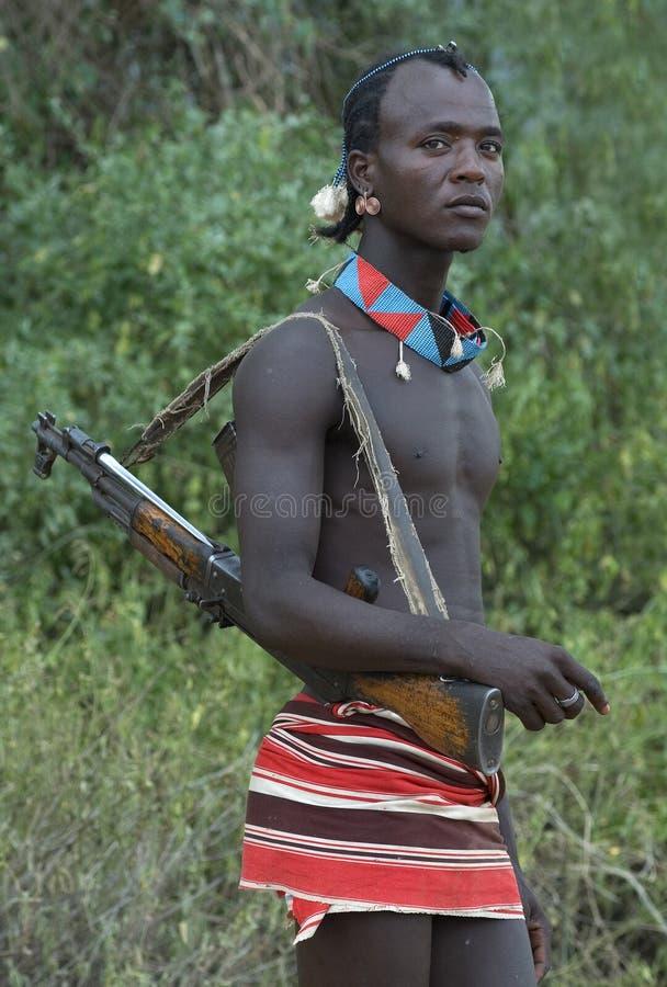 People of Ethiopia. Tribal warrior in South Ethiopia stock photos