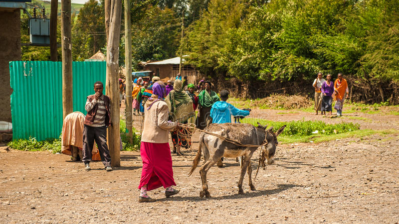 People in Ethiopia. OMO, ETHIOPIA - SEPTEMBER 19, 2011: Unidentified Ethiopian woman walks with a donkey in the street. People in Ethiopia suffer of poverty due royalty free stock photography