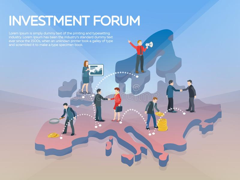 People on the europe map 3d. Business startup work moments flat banner. New ideas, search for investor, increased profits. Busines royalty free stock photos