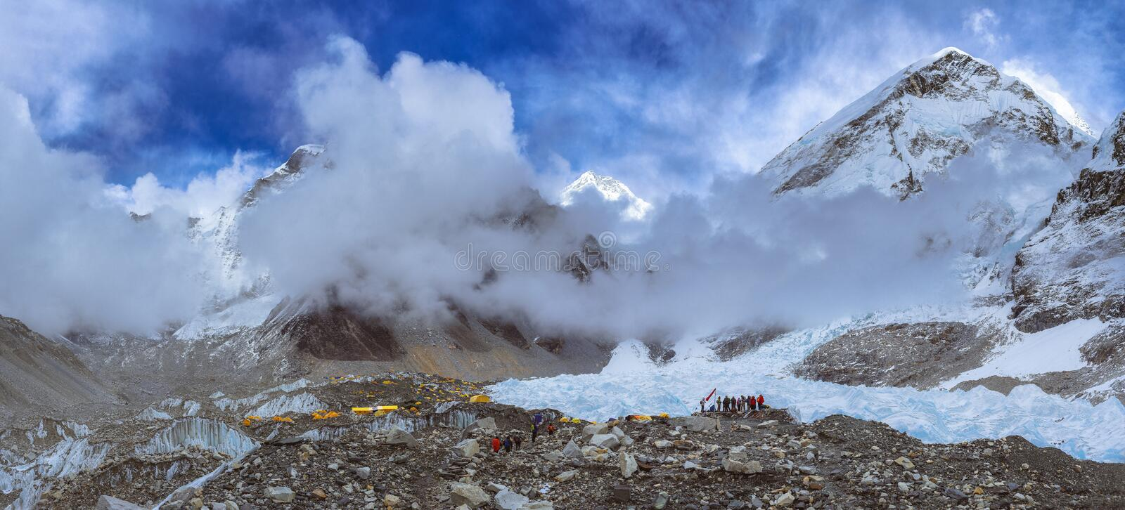 People at Everest Base Camp, 5,364 metres 17,598 ft . royalty free stock image