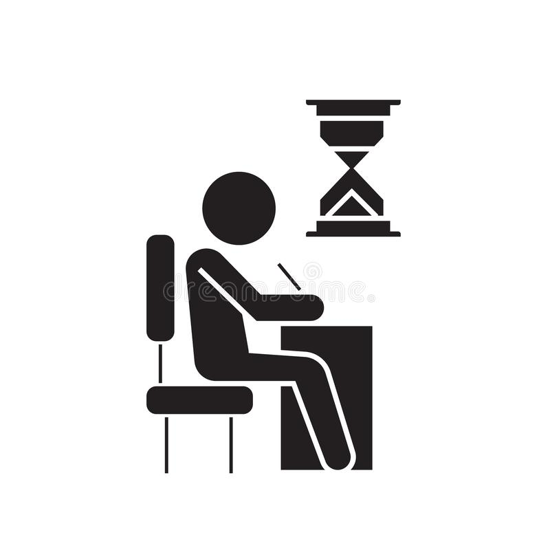 Examing, test, writing man at desk black vector concept icon. Examing, test, writing man at desk flat illustration, sign vector illustration
