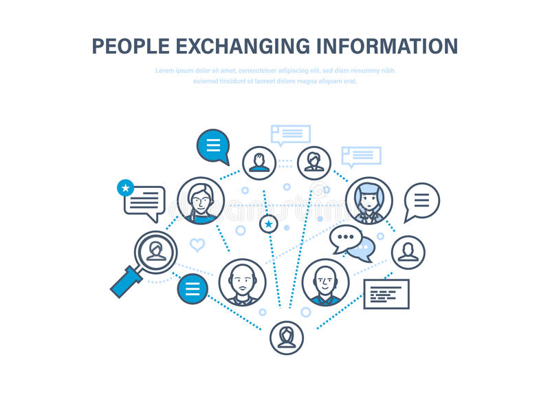 People exchanging information. Communications, feedback. Internet network, social network. People exchanging information. Communications, technical support and vector illustration
