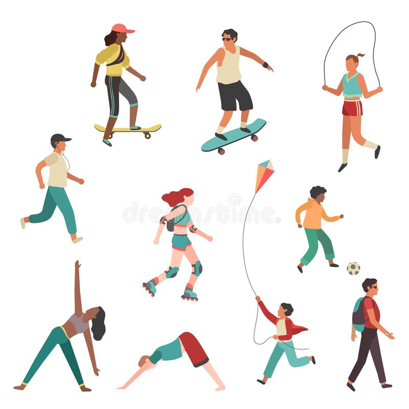 People exercise. Person city girl boy, man and young woman running physical activity isolated flat vector set royalty free illustration