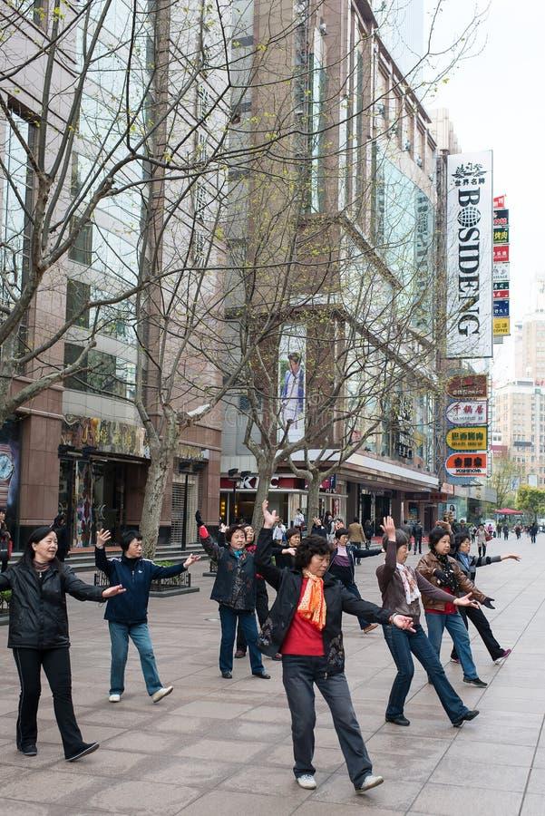People Exercising On Nanjing Road Shanghai China Editorial Photo
