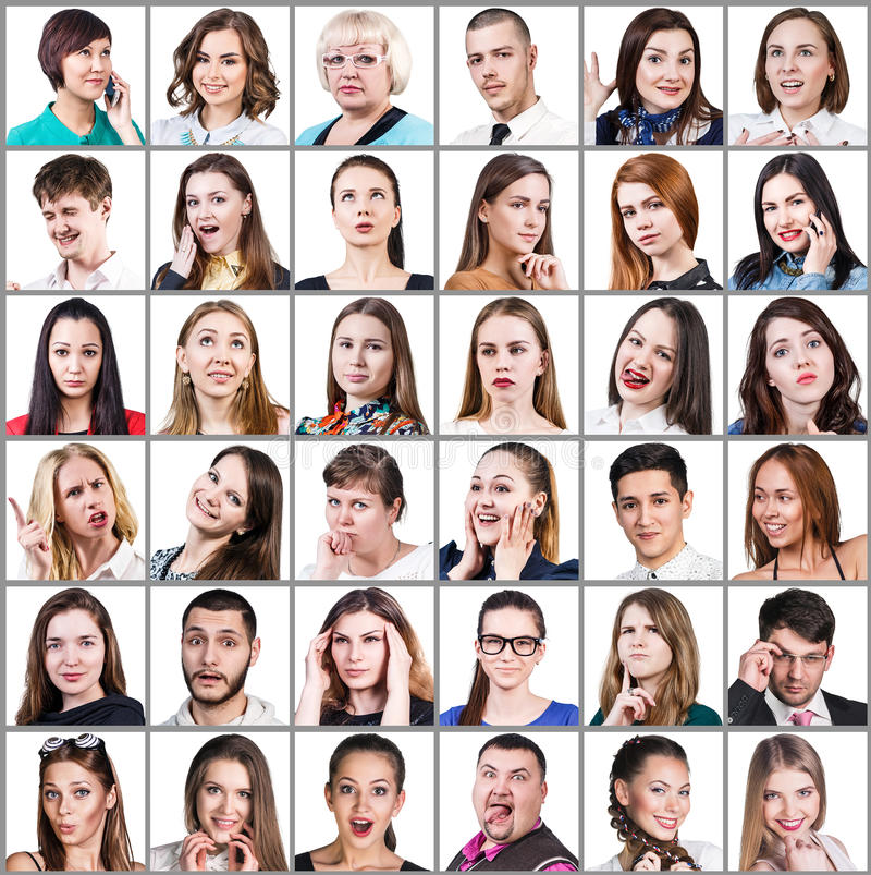 People expressing different emotions stock photo
