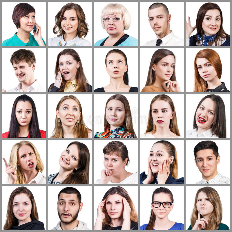 People expressing different emotions. Collage of diverse people expressing different emotions isolated on white background stock image