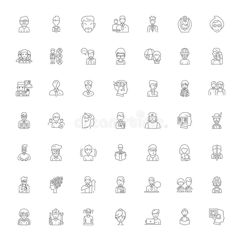 People expressions linear icons, signs, symbols vector line illustration set 向量例证