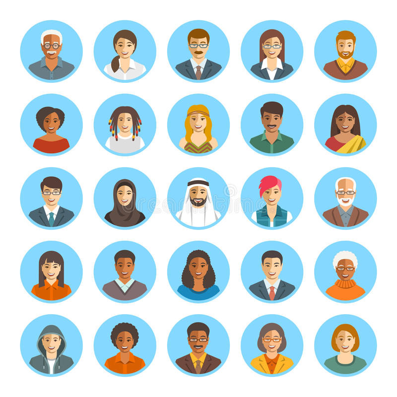 People faces avatars flat vector icons royalty free illustration