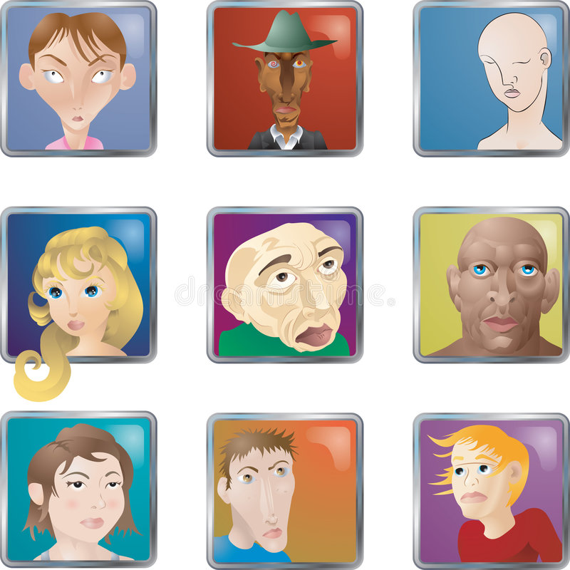 Download People Faces Icons Avatars stock vector. Image of facial - 3260478