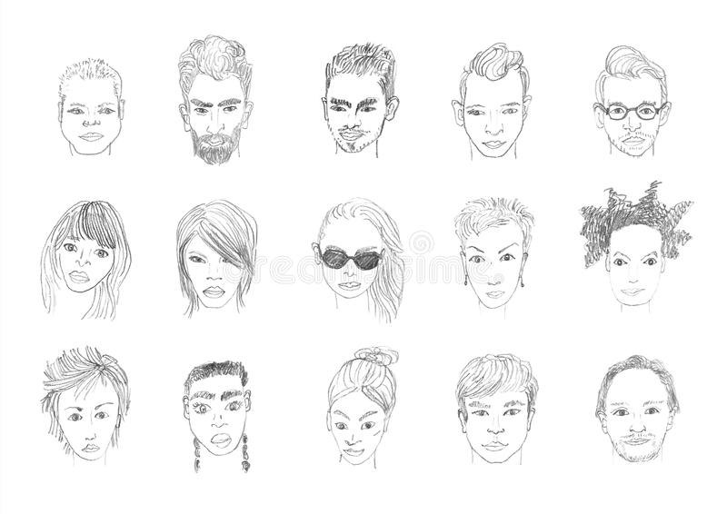 Download people faces pencil drawing stock illustration illustration of character beard 88687077