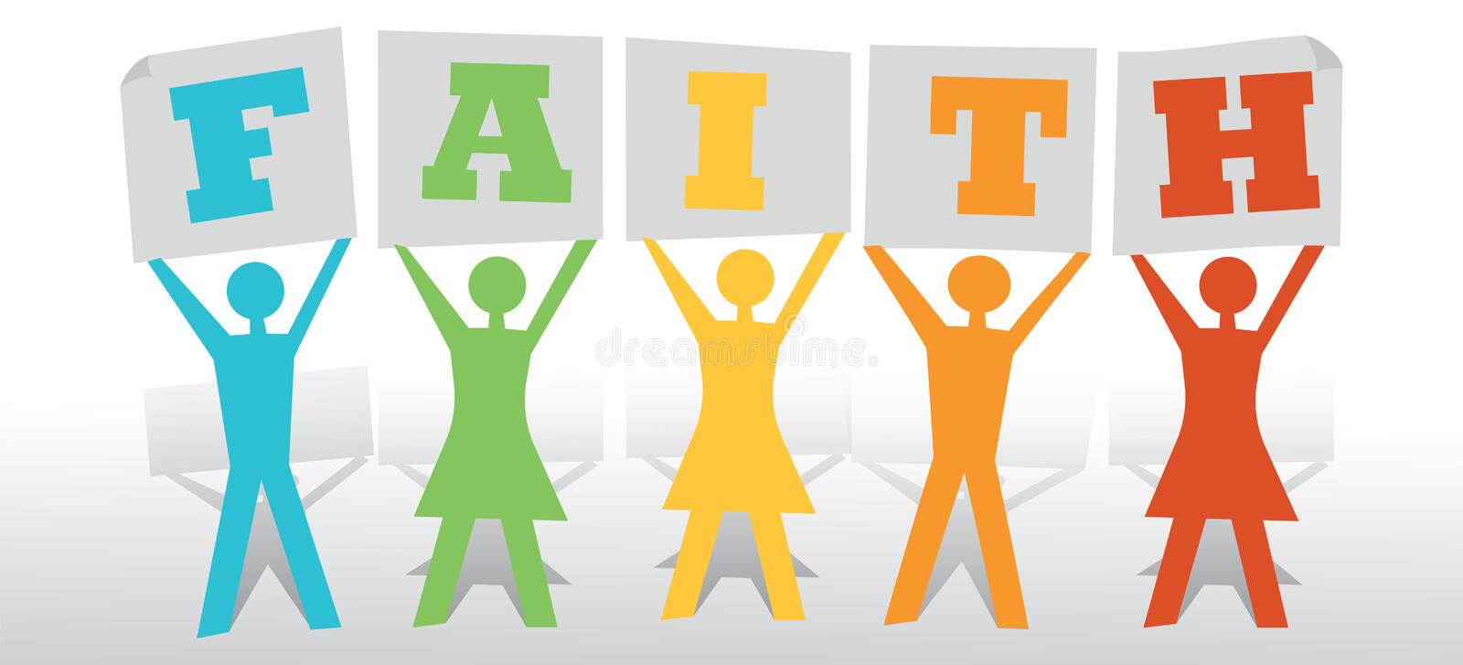 People Faith. Paper people holding faith text message concept vector illustration