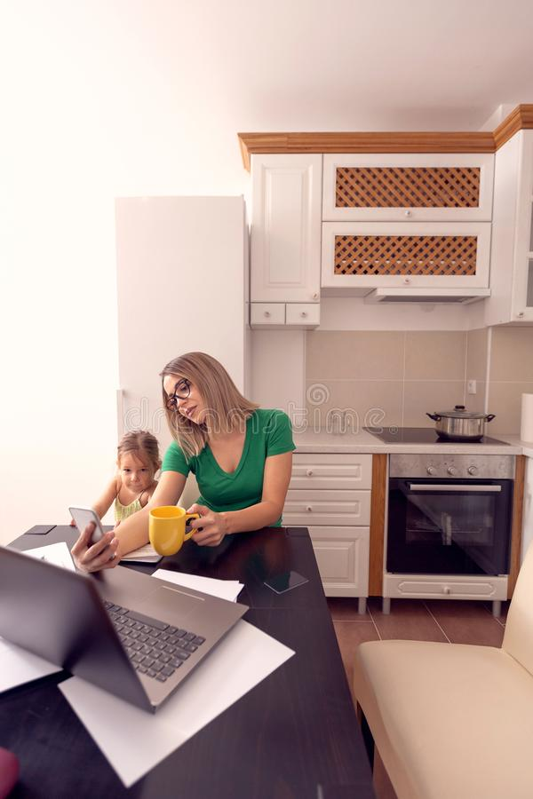 People and family concept - smiling single mother and daughter stock photography
