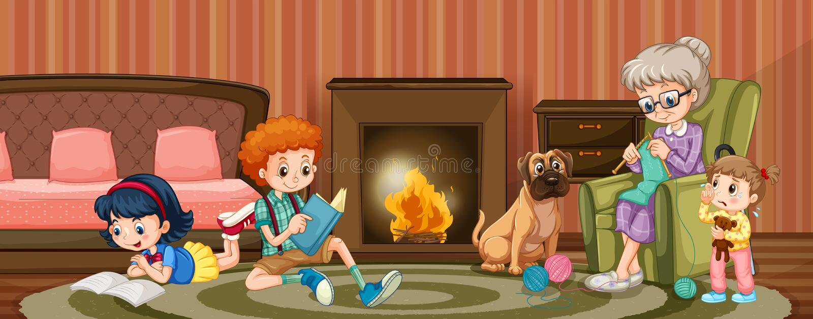People in family in the living room vector illustration