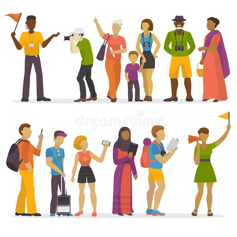 People family traveling on vacation traveler characters happy trip journey couple vector illustration. stock illustration
