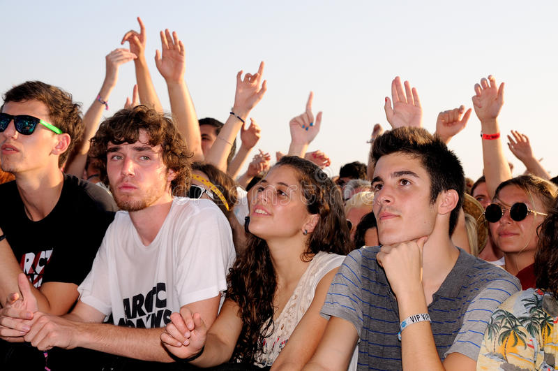 People (fans) watch a concert of their favorite band at FIB (Festival Internacional de Benicassim) 2013 Festival. BENICASIM, SPAIN - JULY 19: People (fans) watch royalty free stock photography