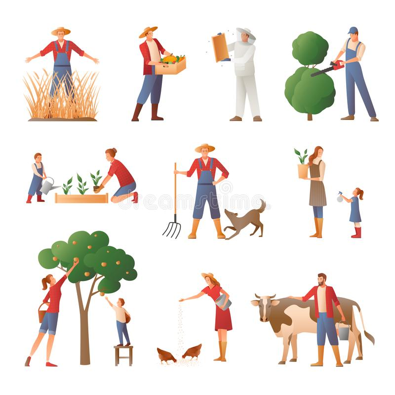 People In Farming Flat Icons Set royalty free illustration