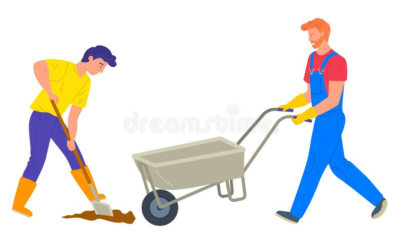 People Farming, Truck and Shovel, Worker Vector vector illustration