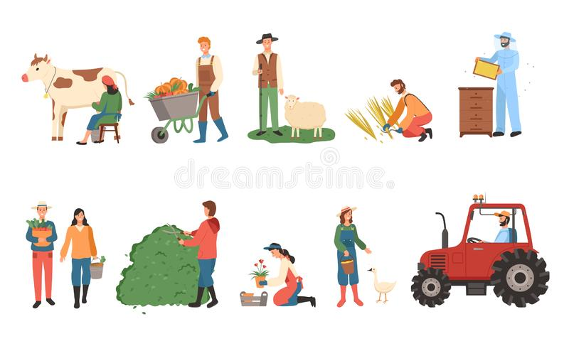 Farmers Working, Man and Woman Harvesting People royalty free illustration